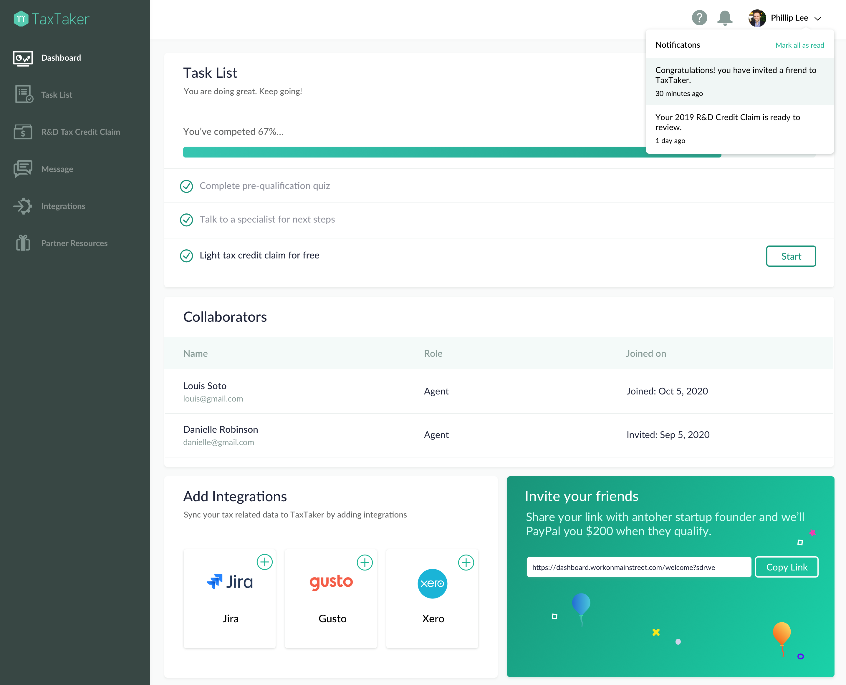 TaxTaker R&D Tax Credit pdashboard preview
